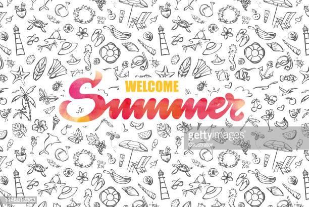 ilustraciones, imágenes clip art, dibujos animados e iconos de stock de tarjeta de verano de bienvenida con tipografía acuarela - concha de mar