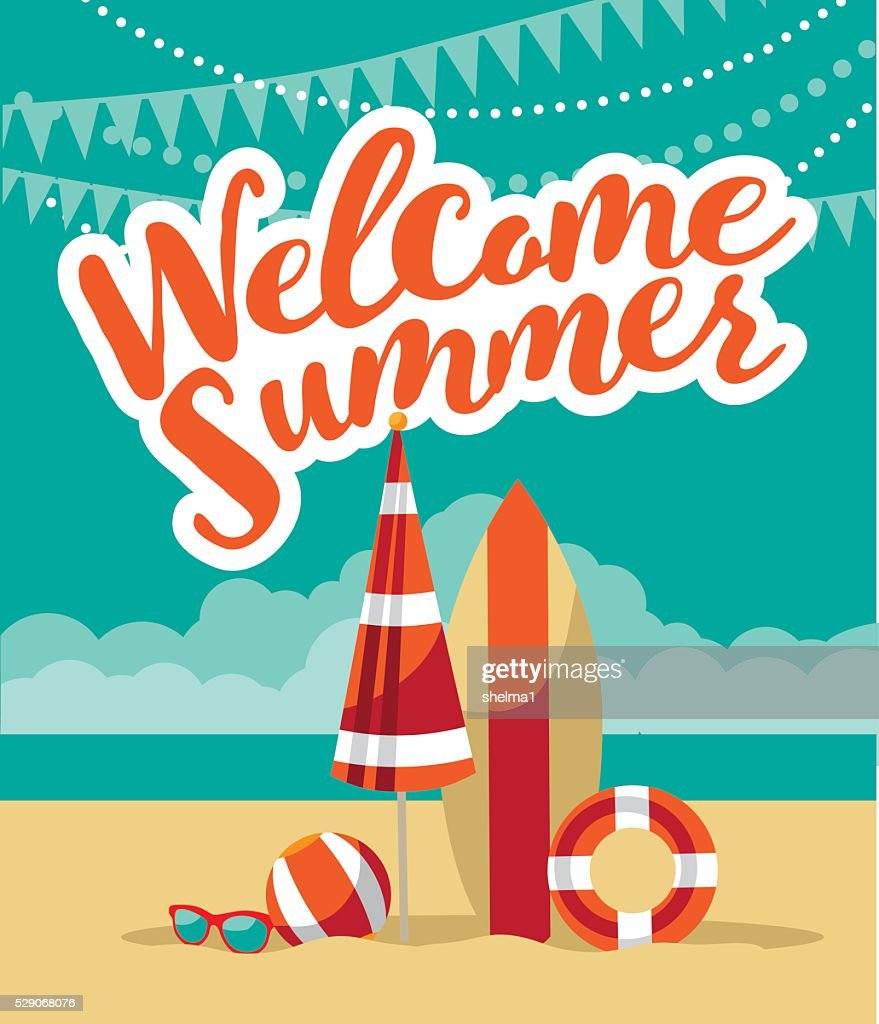 Welcome summer fun flat design.