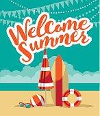 Welcome summer fun flat design.