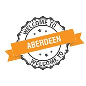 Welcome to Aberdeen stamp illustration