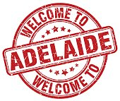 welcome to Adelaide red round vintage stamp
