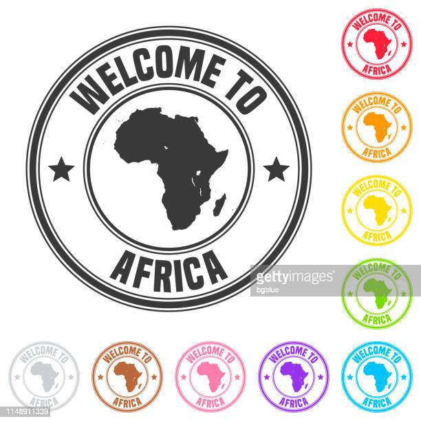 Welcome to Africa stamp - Colorful badges on white background