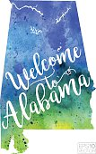 Welcome to Alabama Vector Watercolor Map