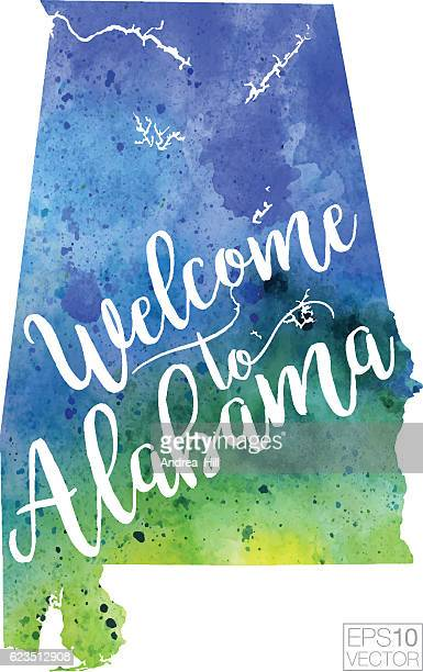 welcome to alabama vector watercolor map - alabama stock illustrations, clip art, cartoons, & icons