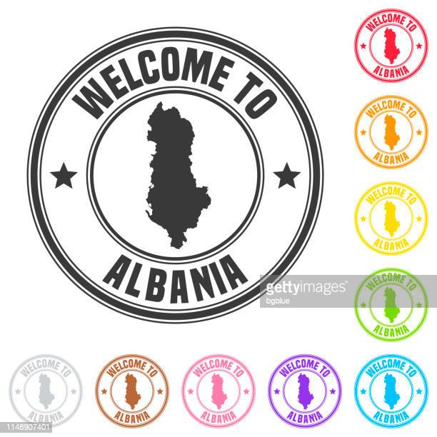 welcome to albania stamp - colorful badges on white background - tirana stock illustrations, clip art, cartoons, & icons