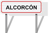 Welcome to Alcorcon Spain road sign vector