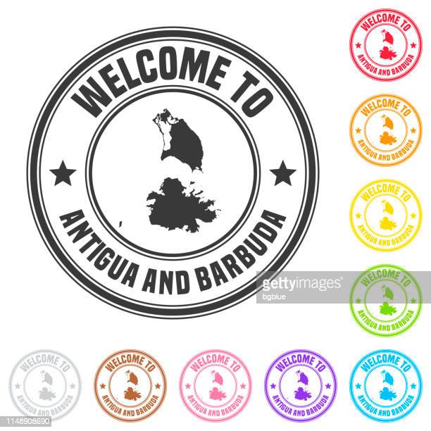 welcome to antigua and barbuda stamp - colorful badges on white background - antigua & barbuda stock illustrations