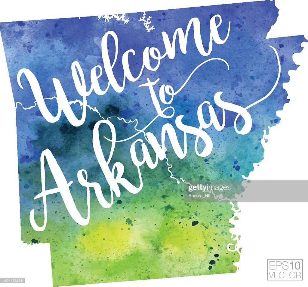 Welcome to Arkansas Vector Watercolor Map