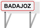 Welcome to Badajoz Spain road sign vector