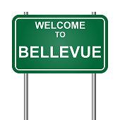 Welcome to Bellevue, green signal vector