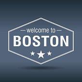 welcome to Boston hexagonal white vintage label