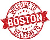 welcome to Boston red round ribbon stamp