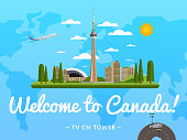 Welcome to Canada poster with famous attraction