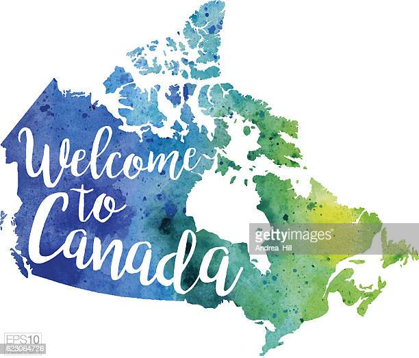 Welcome to Canada Vector Watercolor Map