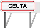 Welcome to Ceuta Spain road sign vector