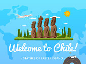 Welcome to Chile poster with famous attraction