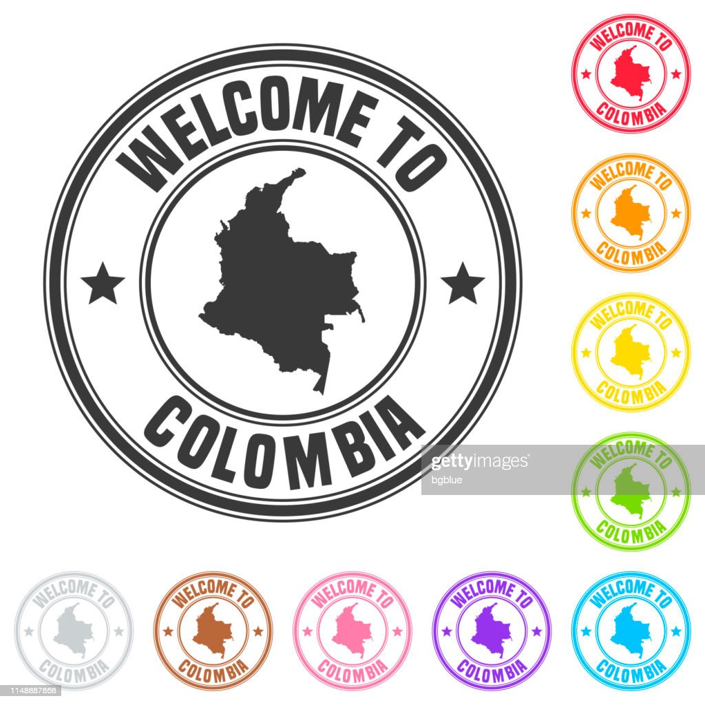 Welcome to Colombia stamp - Colorful badges on white background : stock illustration