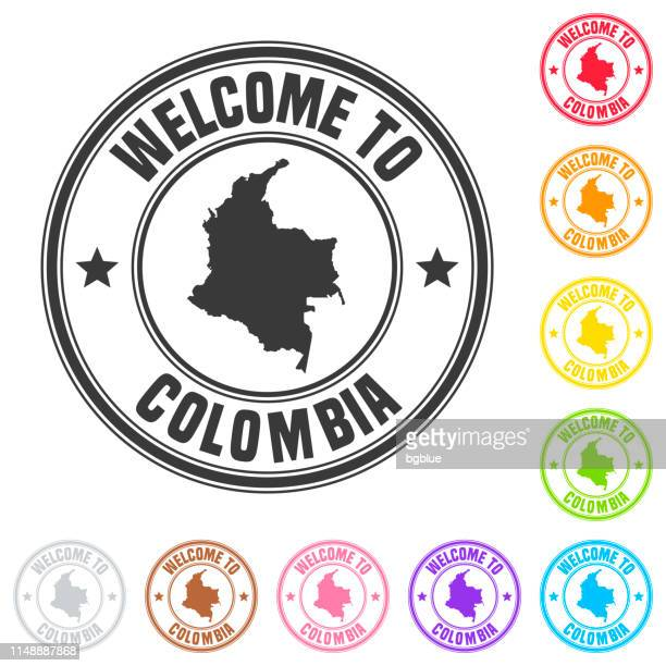 welcome to colombia stamp - colorful badges on white background - colombia stock illustrations