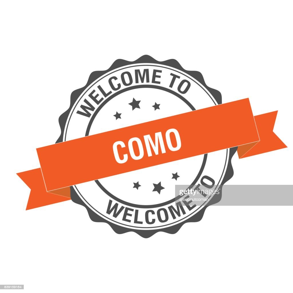 Welcome to Como stamp illustration