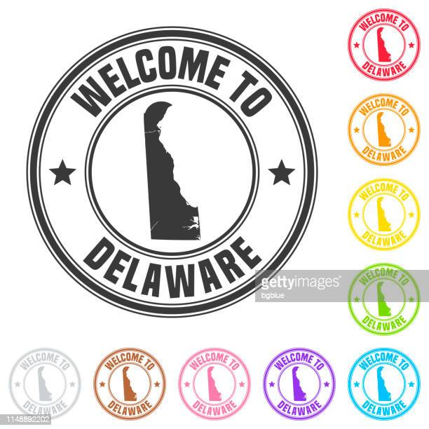 welcome to delaware stamp - colorful badges on white background - wilmington delaware stock illustrations, clip art, cartoons, & icons