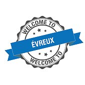Welcome to Evreux stamp illustration