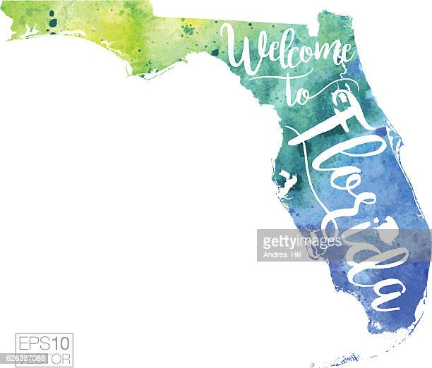 welcome to florida vector watercolor map - southern usa stock illustrations, clip art, cartoons, & icons