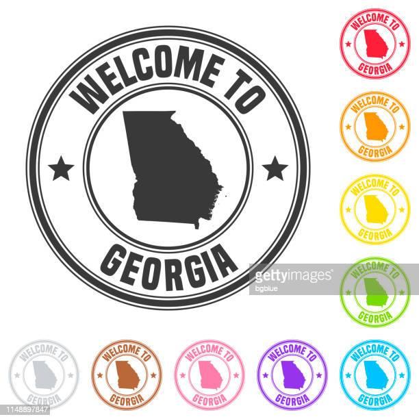 ilustrações, clipart, desenhos animados e ícones de boa vinda ao selo de geórgia (eua)-emblemas coloridos no fundo branco - atlanta