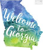 Welcome to Georgia Vector Watercolor Map