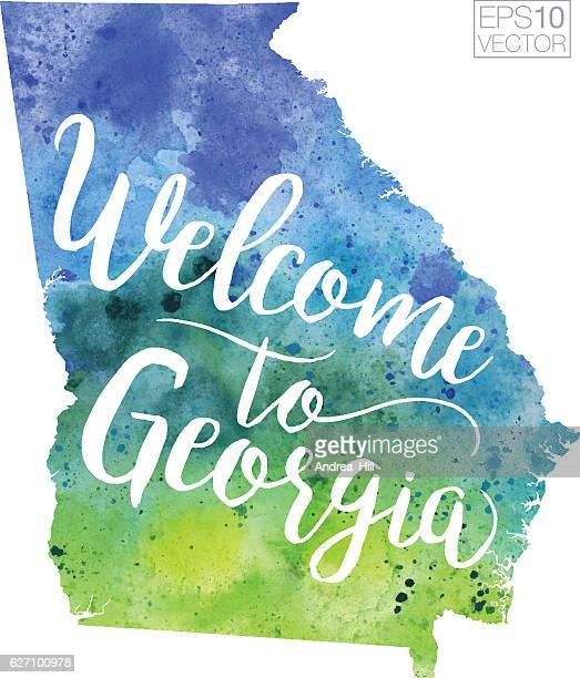 welcome to georgia vector watercolor map - georgia us state stock illustrations, clip art, cartoons, & icons