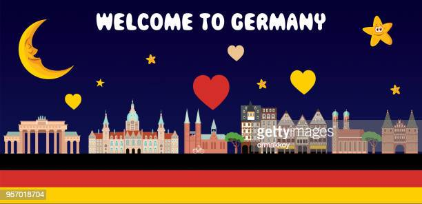 ilustraciones, imágenes clip art, dibujos animados e iconos de stock de bienvenidos a alemania - dortmund ciudad