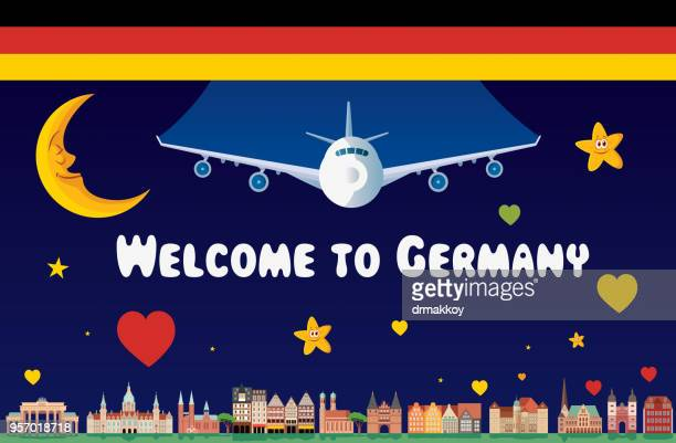 welcome to germany - brandenburg gate stock illustrations, clip art, cartoons, & icons