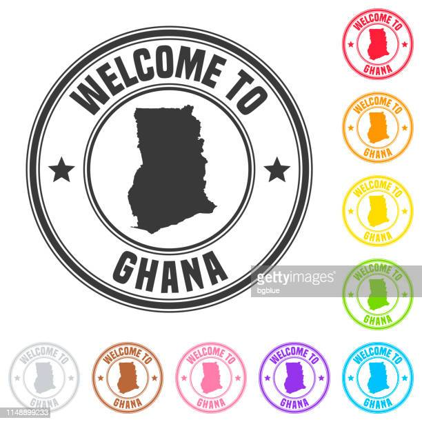 welcome to ghana stamp - colorful badges on white background - accra stock illustrations, clip art, cartoons, & icons