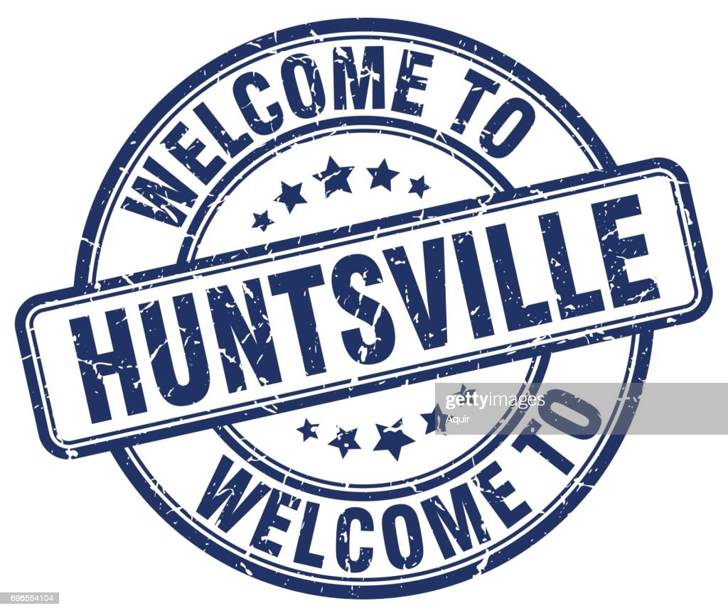 welcome to Huntsville blue round vintage stamp