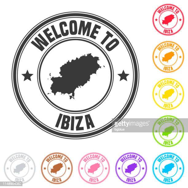 welcome to ibiza stamp - colorful badges on white background - ibiza island stock illustrations
