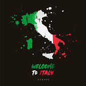 Welcome to Italy. Europe. Flag and map