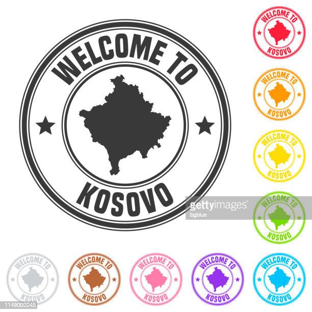 Welcome to Kosovo stamp - Colorful badges on white background