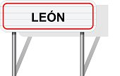Welcome to Leon Spain road sign vector