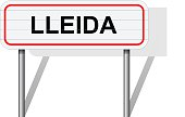Welcome to Lleida Spain road sign vector