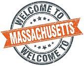welcome to Massachusetts orange round ribbon stamp