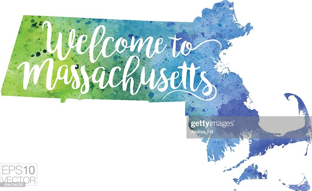 Welcome to Massachusetts Vector Watercolor Map