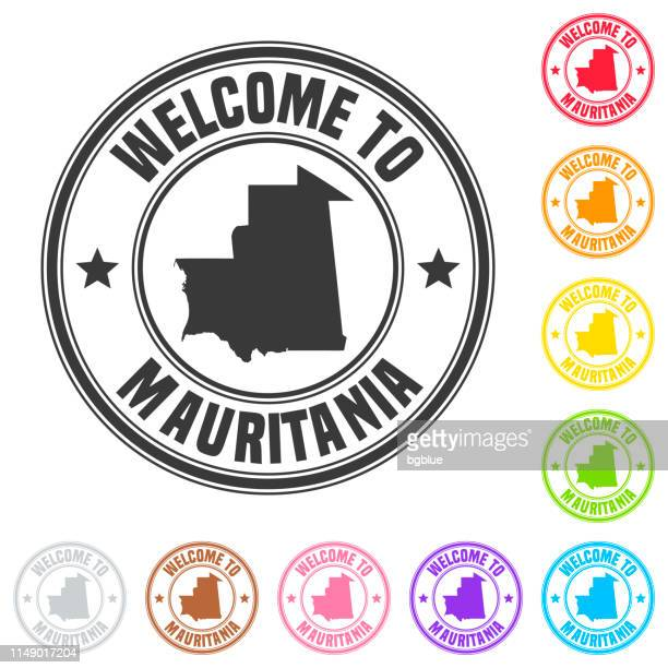 Welcome to Mauritania stamp - Colorful badges on white background