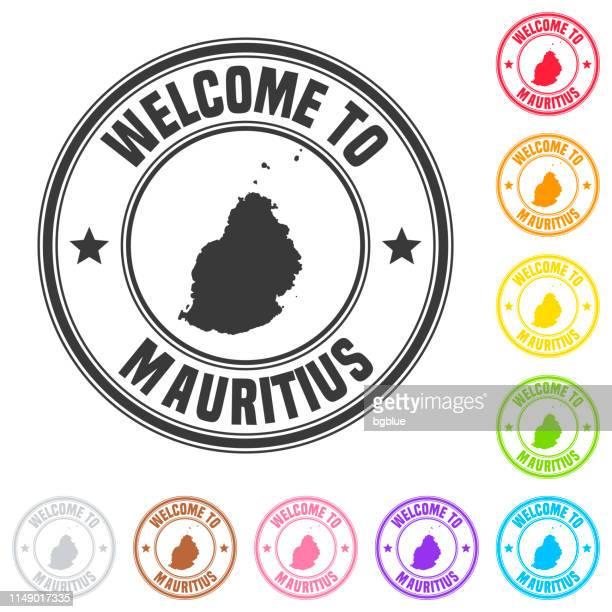 ilustrações, clipart, desenhos animados e ícones de boa vinda ao selo de maurícia-emblemas coloridos no fundo branco - ilhas maurício