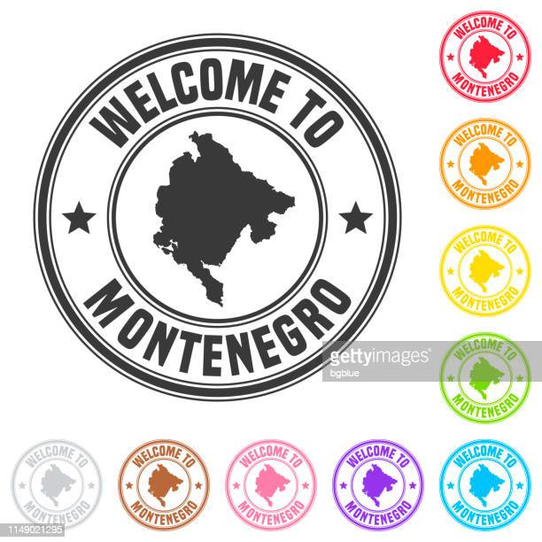 willkommen in montenegro stempel-bunte abzeichen auf weißem hintergrund - montenegro stock-grafiken, -clipart, -cartoons und -symbole