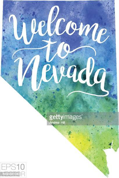 Welcome to Nevada Vector Watercolor Map