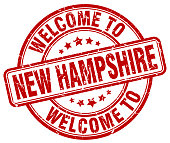 welcome to New Hampshire red round vintage stamp