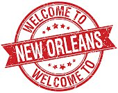 welcome to New Orleans red round ribbon stamp
