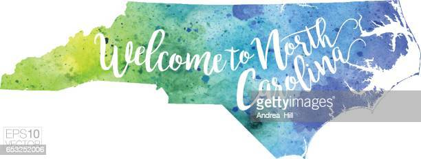 Welcome to North Carolina Vector Watercolor Map