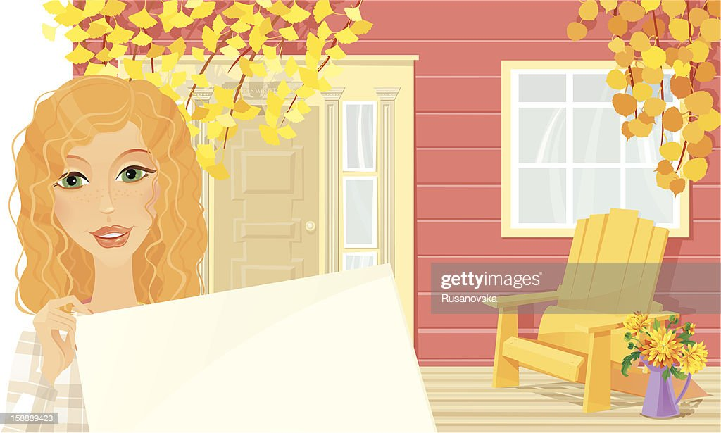 Welcome to our Autumn Cottage : Vector Art