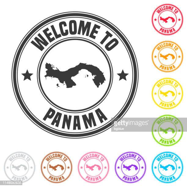 welcome to panama stamp - colorful badges on white background - panama city panama stock illustrations, clip art, cartoons, & icons
