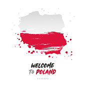 Welcome to Poland. Europe. Flag and map